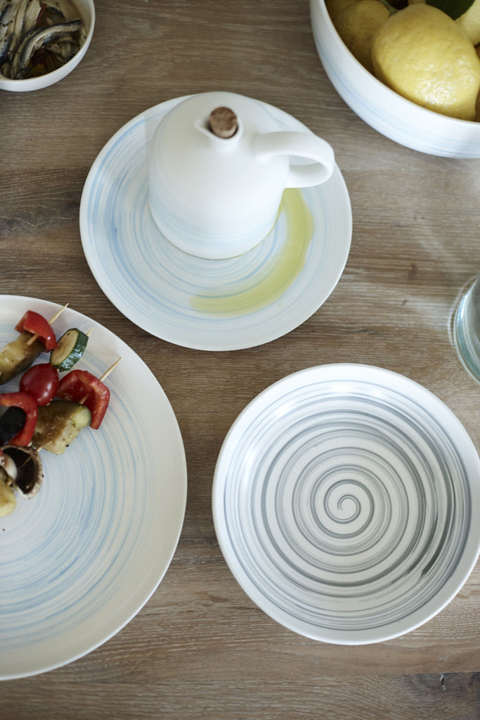 Set of 4 Charmouth Pasta Bowls in Grey design by Canvas