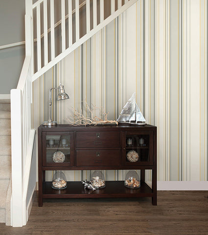 Cape Elizabeth Stripe Wallpaper from the Seaside Living Collection by Brewster Home Fashions