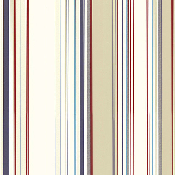 Sample Cape Elizabeth Red Stripe Wallpaper from the Seaside Living Collection by Brewster Home Fashions