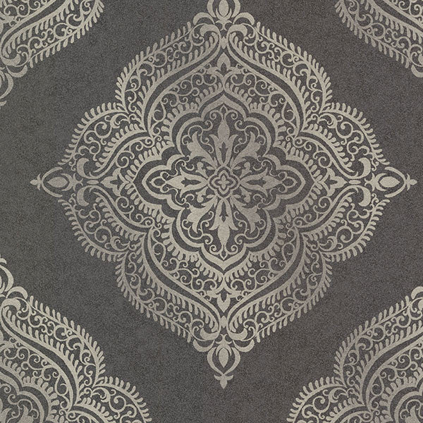 Sample Capella Charcoal Medallion Wallpaper from the Avalon Collection by Brewster Home Fashions