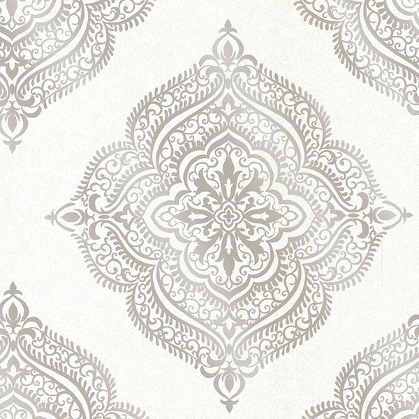 Sample Capella Cream Medallion Wallpaper from the Avalon Collection by Brewster Home Fashions