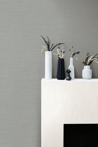 Cardboard Faux Wallpaper in Metallic Pearl and Heather Grey from the Living With Art Collection by Seabrook Wallcoverings