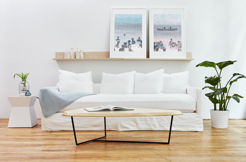Carmel Sofa in Washed Denim White design by Gus Modern