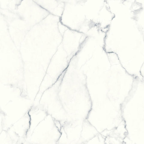 Carrara Marble Peel & Stick Wallpaper in Blue and Grey by RoomMates for York Wallcoverings