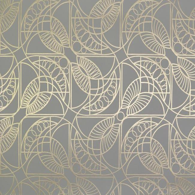 Cartouche Wallpaper in Grey and Gold by Antonina Vella for York Wallcoverings