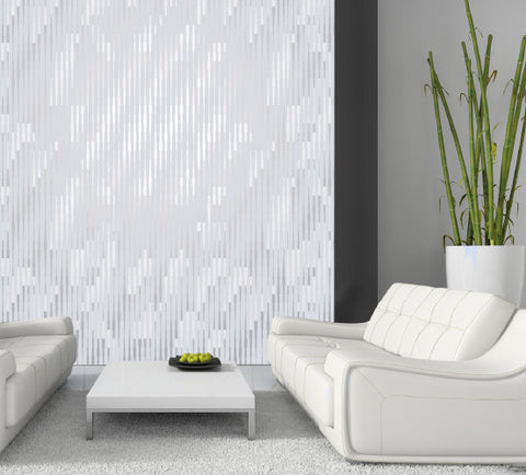Cascade Wallpaper in Silver Rain design by Jill Malek