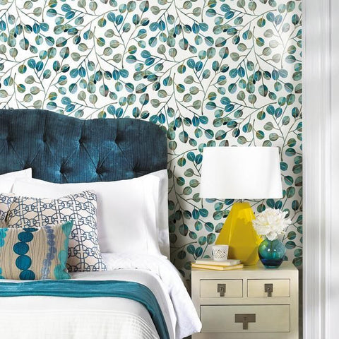 Cat Coquillette Eucalyptus Peel & Stick Wallpaper in Teal by RoomMates for York Wallcoverings