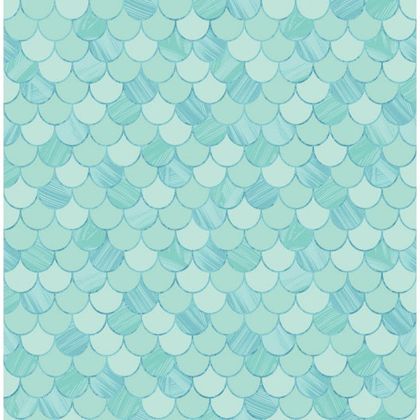Catalina Scales Wallpaper In Aqua From The Tortuga