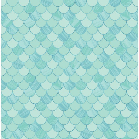 Catalina Scales Wallpaper in Aqua from the Tortuga Collection by Seabrook Wallcoverings