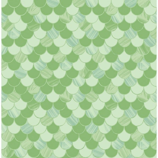 Catalina Scales Wallpaper in Green from the Tortuga Collection by Seabrook Wallcoverings