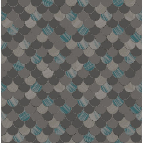Catalina Scales Wallpaper in Grey, Black, and Blue from the Tortuga Collection by Seabrook Wallcoverings