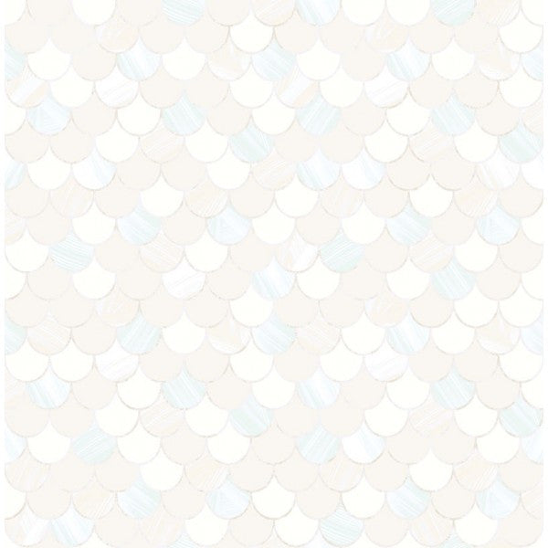 Catalina Scales Wallpaper in White, Pearl, and Aqua from the Tortuga Collection by Seabrook Wallcoverings