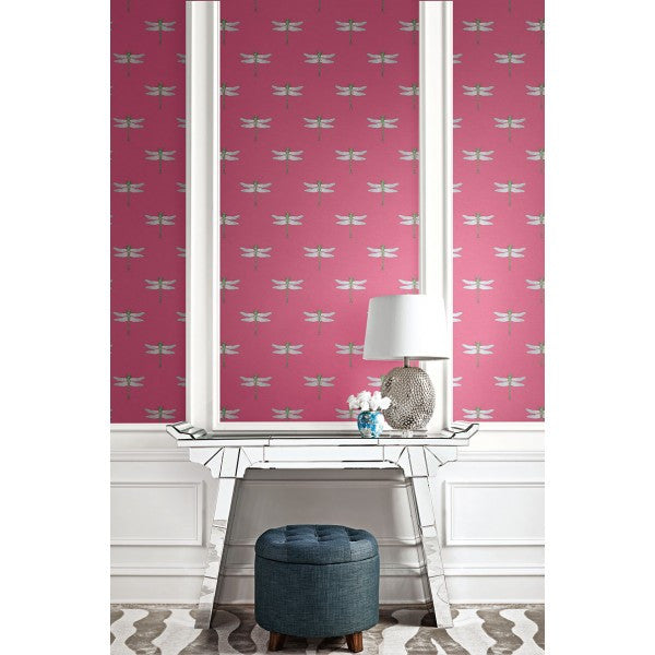 Catalina Wallpaper in Pink and Green from the Tortuga Collection by Seabrook Wallcoverings