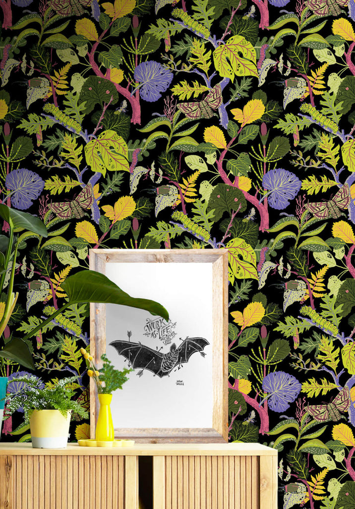 Caterpillar Wallpaper in Black from the Kingdom Home Collection by Milton & King