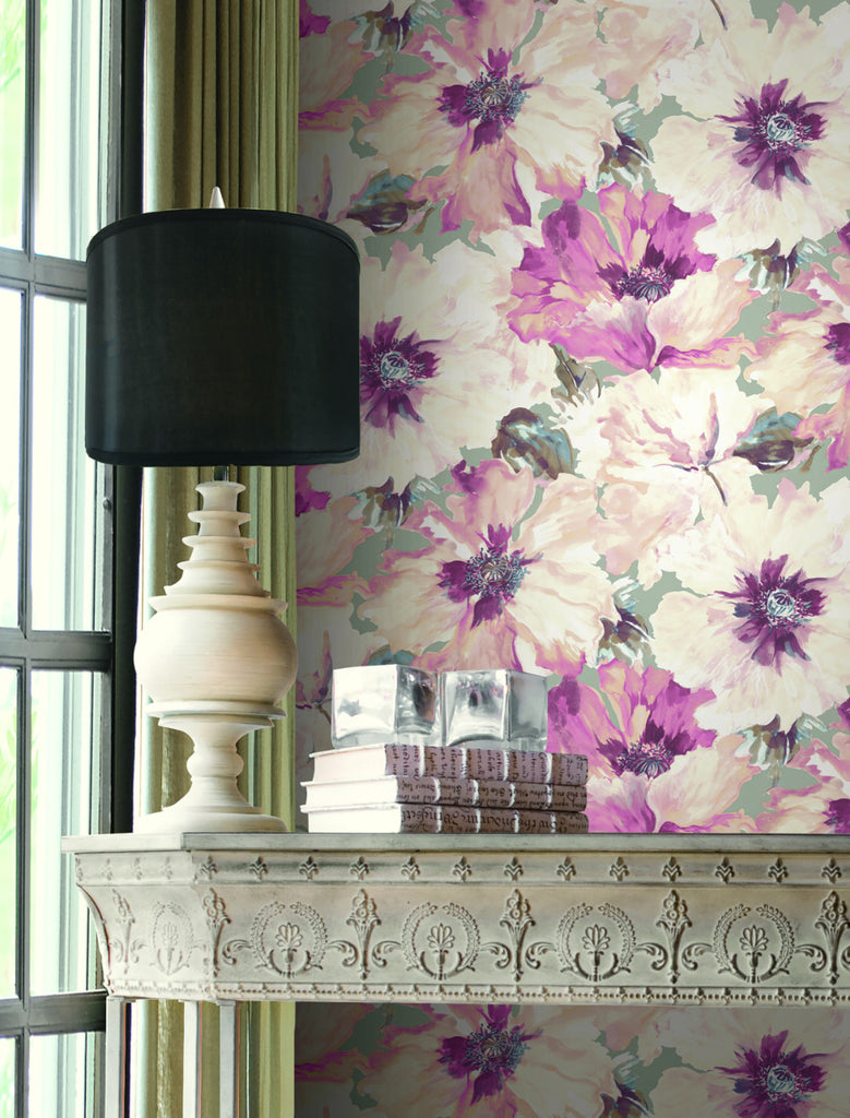 Cecita Floral Wallpaper in Pink from the Lugano Collection by Seabrook Wallcoverings