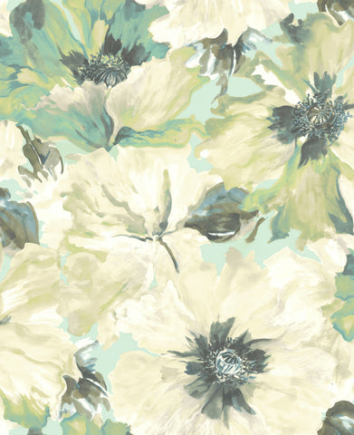 Cecita Floral Wallpaper in Green from the Lugano Collection by Seabrook Wallcoverings