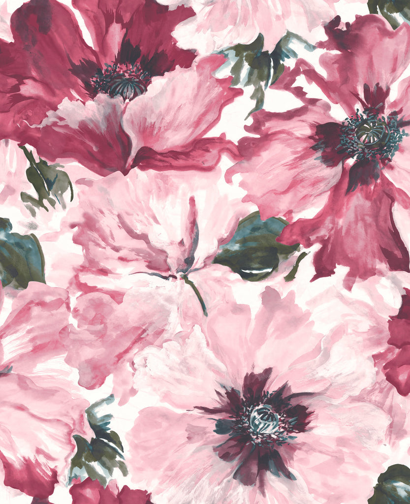 Cecita Floral Wallpaper in Purple from the Lugano Collection by Seabrook Wallcoverings