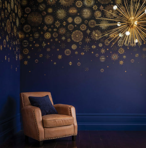 Celestia Wallpaper in Midnight from the Daydreams Collection by Matthew Williamson for Osborne & Little
