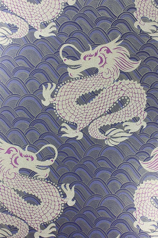 Celestial Dragon Wallpaper in Ink and Amethyst by Matthew Williamson for Osborne & Little
