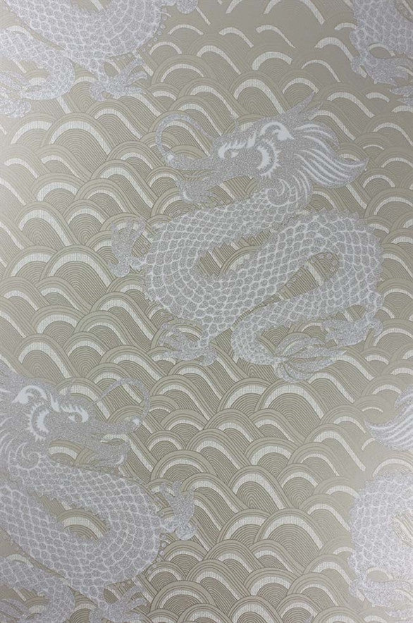 Celestial Dragon Wallpaper in Metallic Gold by Matthew Williamson for Osborne & Little
