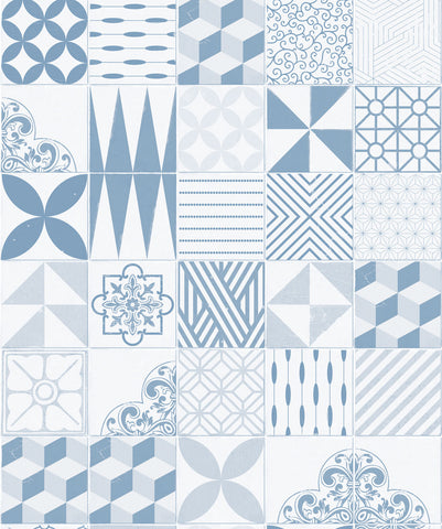 Cement Tiles Wallpaper in Pale Blue from the Kemra Collection by Milton & King
