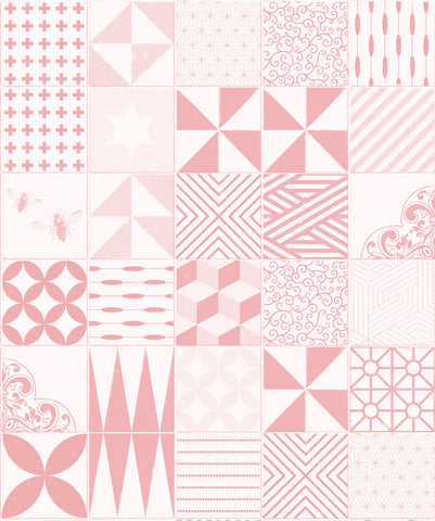 Cement Tiles Wallpaper in Pink from the Kemra Collection by Milton & King