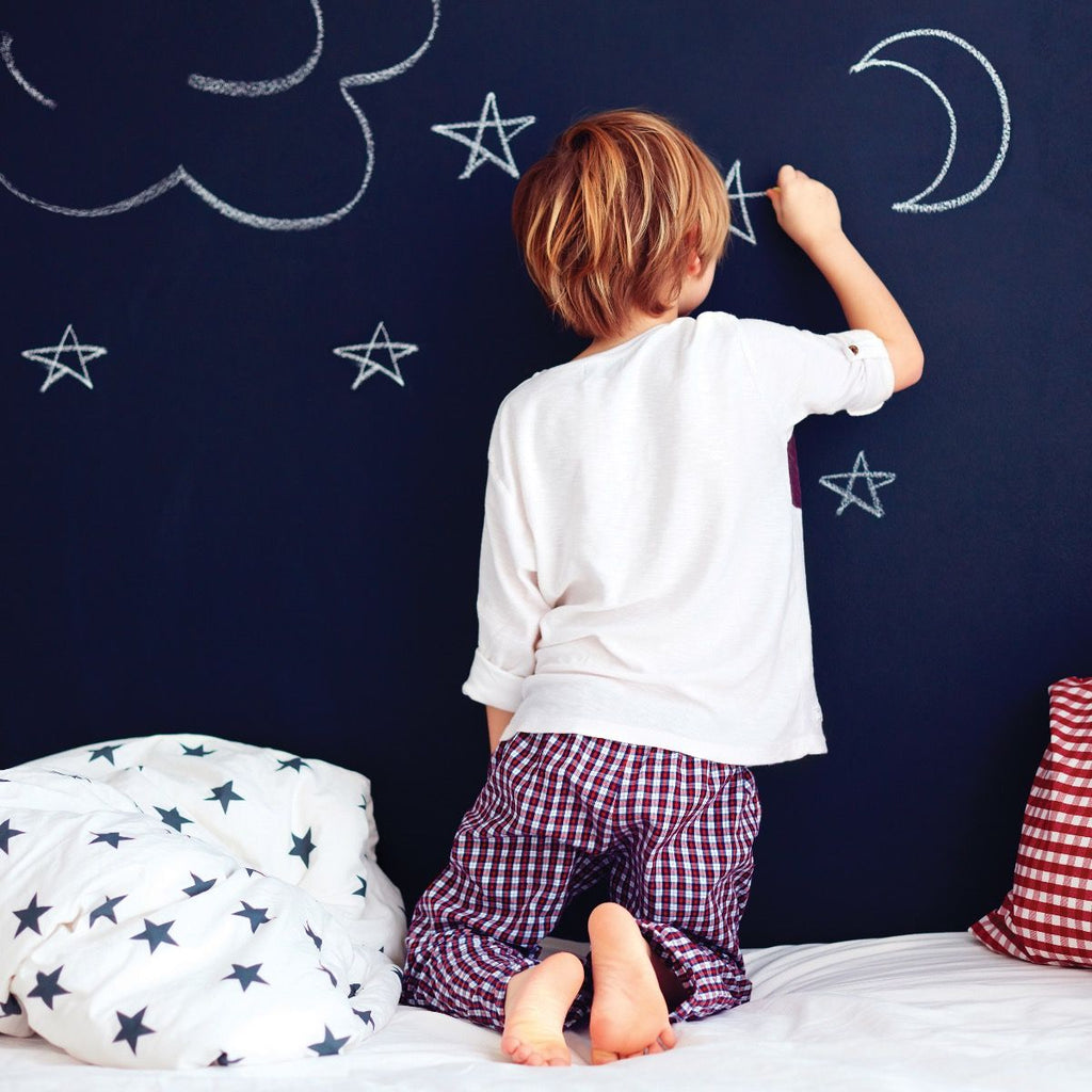 Chalkboard Self-Adhesive Wallpaper in Black design by Tempaper