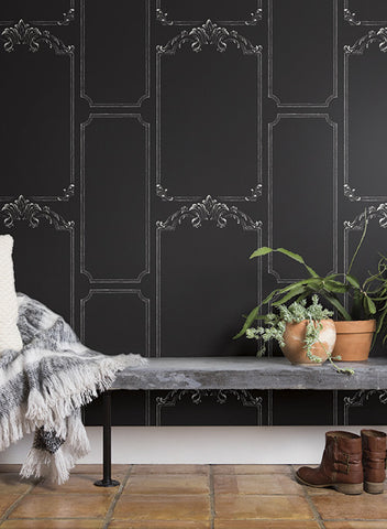 Chalkboard Wallpaper in Black from the Magnolia Home Collection by Joanna Gaines for York Wallcoverings