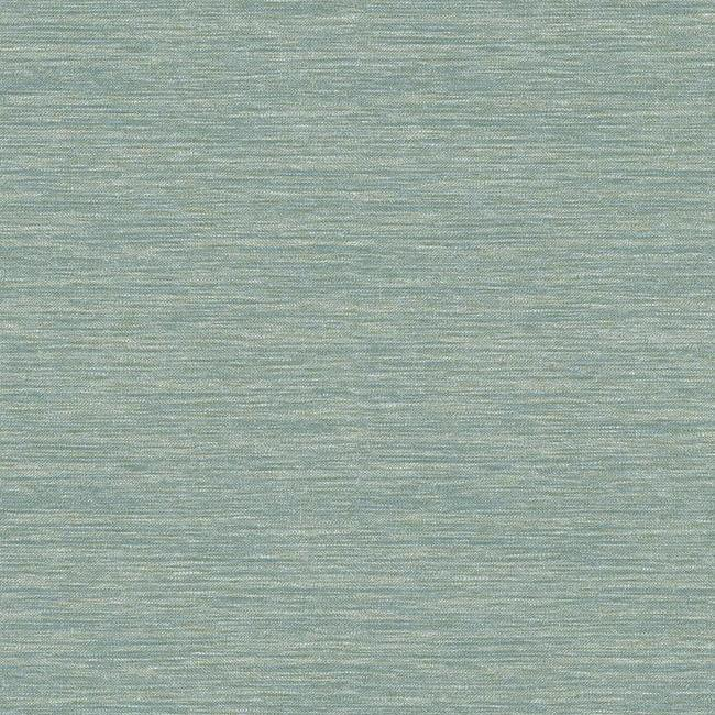 Sample Challis Woven Wallpaper in Teal from the Impressionist Collection by York Wallcoverings