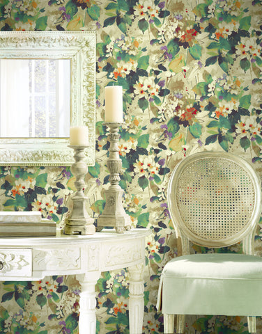 Chambon Floral Wallpaper from the Lugano Collection by Seabrook Wallcoverings