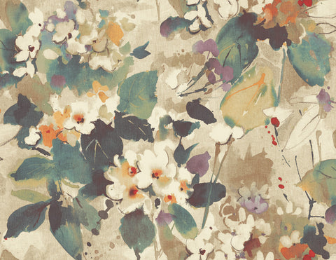 Chambon Floral Wallpaper in Green and Purple from the Lugano Collection by Seabrook Wallcoverings