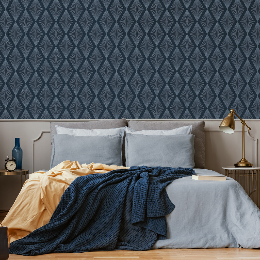 Chandelier Wallpaper in Navy from the Capsule Collection by Graham & Brown