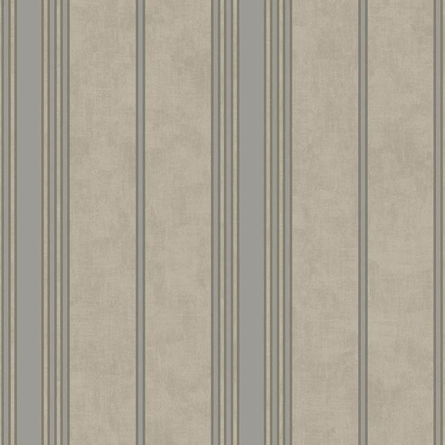 Channel Stripe Wallpaper in Silver and Grayish Blue by Antonina Vella for York Wallcoverings