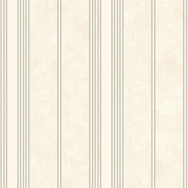 Sample Channel Stripe Wallpaper in Silver and Ivory by Antonina Vella for York Wallcoverings