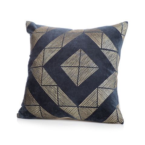 Chantel Midnight Blue Cotton Throw Pillow in Various Sizes