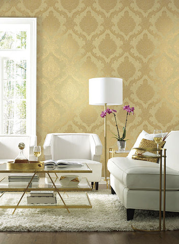 Chantilly Lace Wallpaper in Gold and Grey by Antonina Vella for York Wallcoverings