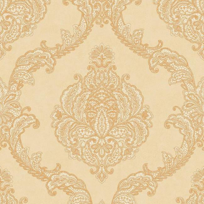 Sample Chantilly Lace Wallpaper in Gold and Soft Neutrals by Antonina Vella for York Wallcoverings