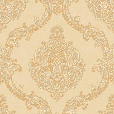 Chantilly Lace Wallpaper in Gold and Soft Neutrals by Antonina Vella for York Wallcoverings