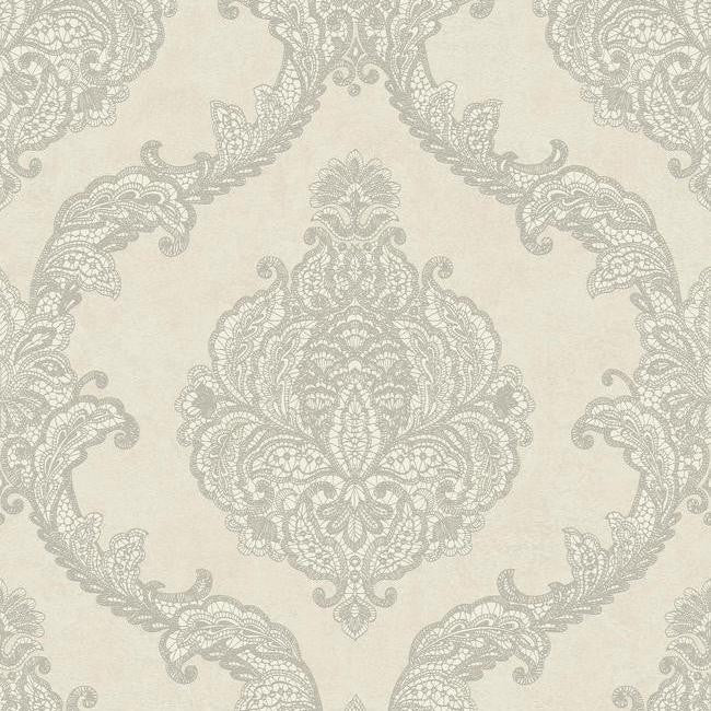 Sample Chantilly Lace Wallpaper in Silver and Grey by Antonina Vella for York Wallcoverings