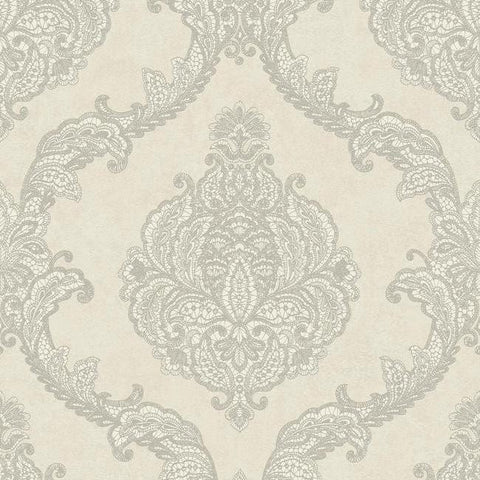 Chantilly Lace Wallpaper in Silver and Grey by Antonina Vella for York Wallcoverings