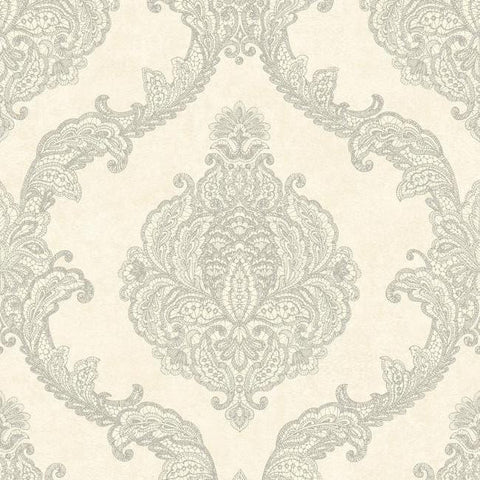 Chantilly Lace Wallpaper in Silver and Soft Grey by Antonina Vella for York Wallcoverings