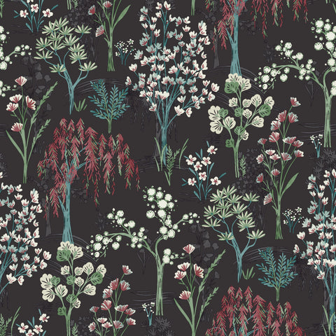 Sample Charcoal Whimsical Botanicals Wallpaper by Walls Republic