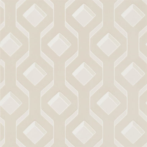 Chareau Flock Wallpaper in Ivory from the Mandora Collection by Designers Guild