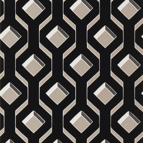 Chareau Flock Wallpaper in Noir from the Mandora Collection by Designers Guild