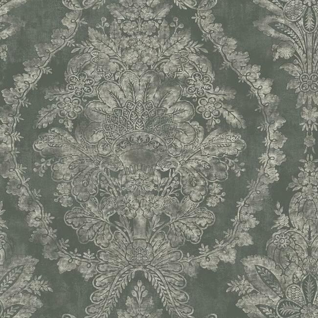 Sample Charleston Damask Wallpaper in Grey from the Ronald Redding 24 Karat Collection by York Wallcoverings