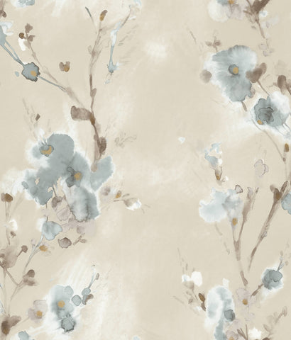 Charm Wallpaper in Soft Blue from the Breathless Collection by Candice Olson for York Wallcoverings