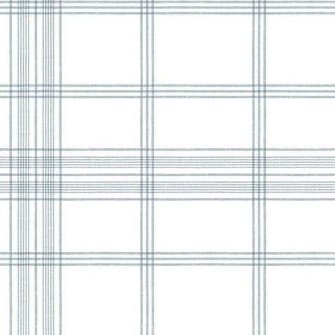 Charter Plaid Wallpaper in Blue from the Water's Edge Collection by York Wallcoverings