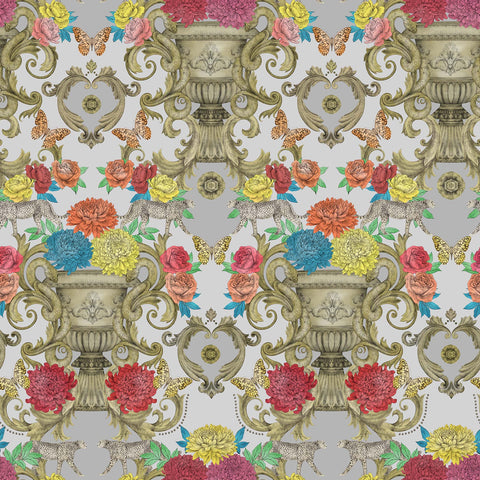 Chateau Wallpaper in Silver from the Daydreams Collection by Matthew Williamson for Osborne & Little