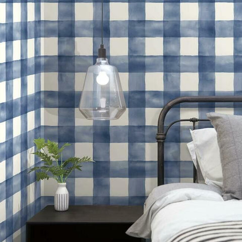 Checkmate Watercolor Peel & Stick Wallpaper in Blue by York Wallcoverings