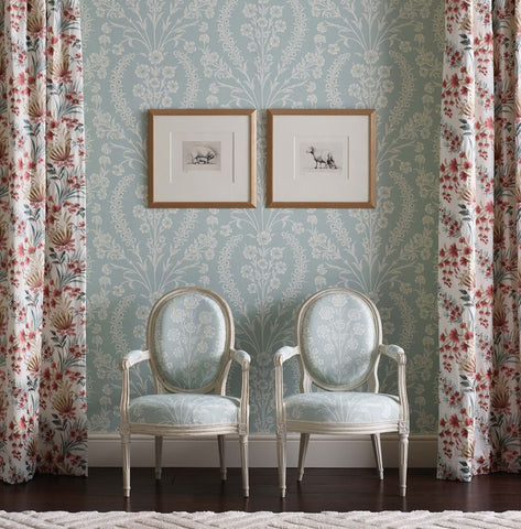 Chelwood Wallpaper in Aqua from the Ashdown Collection by Nina Campbell for Osborne & Little